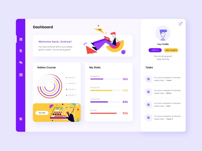 Dashboard UI using Geometry Illustrations