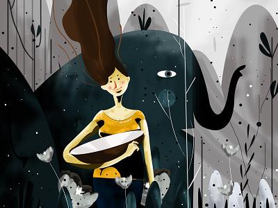 into the wild green eliphant girl girl character love illustratio creative muhamed sajid illustration hiwow