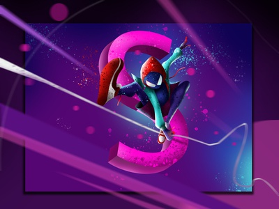 S for Spider man into spider verse