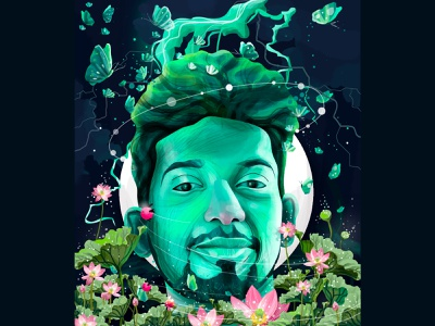 The saintly celebrity who meditates through his illustrations green dreem nature creative vector instagram design illustration illustratio muhamed sajid hiwow