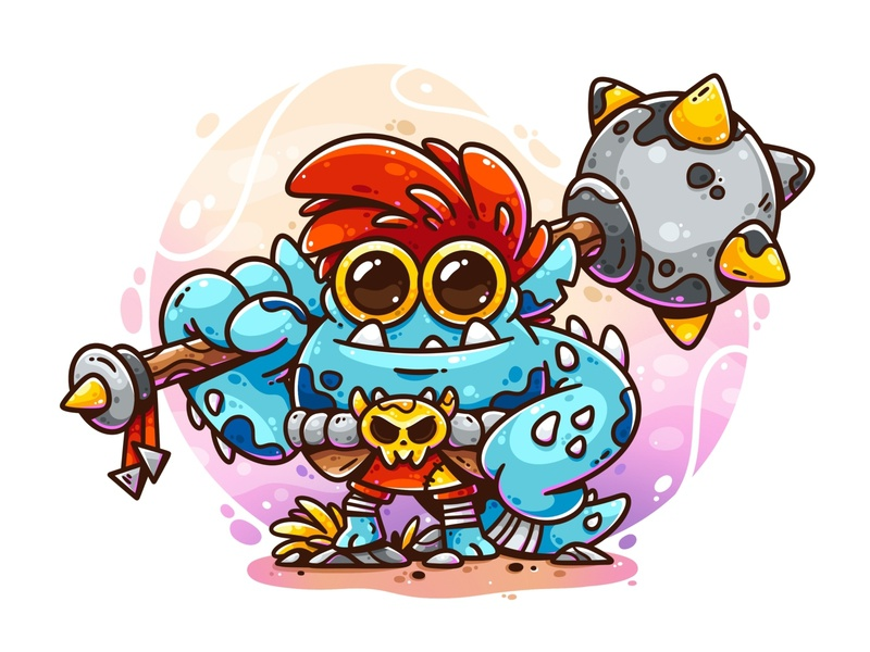 Troll Warrior procreate game art character art drawing vector design digital art warrior troll character illustrator cute character design illustration