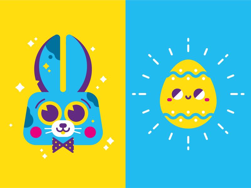 Easter flatdesign bunny egg icons logo icon design icon easter egg easter bunny easter design character illustrator cute illustration