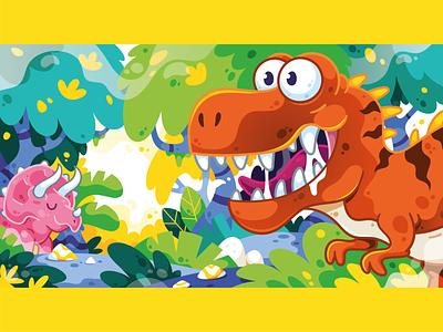 Jungle Dino's flatdesign dinos jungle triceratops trex design dinosaurs dinosaur character art art digital art vector character illustrator cute illustration