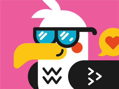 Seagull sunglasses bold color flat  design magnet cropped animation clean design bird vector illustration seagull icon set logo icon character design character vector design illustrator cute illustration