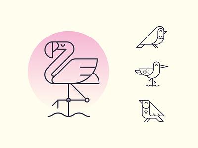 Birds ui  ux geometric brand design birds logo logo design mark clean design linework flamingo birds branding icon set icon icons logo vector design illustrator cute illustration
