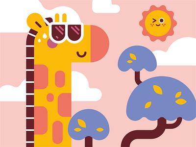 Hot up here giraffes icon hot soft colors flat  design flat illustration clean design sun vector art giraffe vector illustration digital art character art character design vector character design illustrator cute illustration