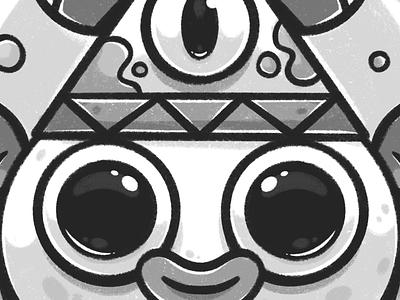 3rd eye eyes detail third eye eye cute character crop texture black and white sketchbook sketch procreate digital art character art drawing character design character design illustrator cute illustration