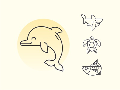 Sea Life line art happy ocean life fish tuna turtle shark dolphin sea life icon set vector character design icon branding ui logo design illustrator cute illustration