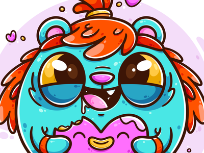 Share the love game design game art character animation happy sharing bright colors cute illustration cute animal heart love digital art character art art character design vector character design illustrator cute illustration