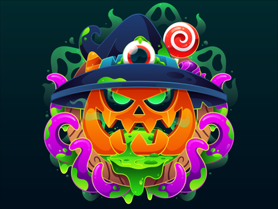 Happy Halloween vector illustration flat candy vector art adobe illustrator art character design scary ghost pumpkin halloween design halloween icon digital art vector illustrator dribbbleweeklywarmup character design illustration
