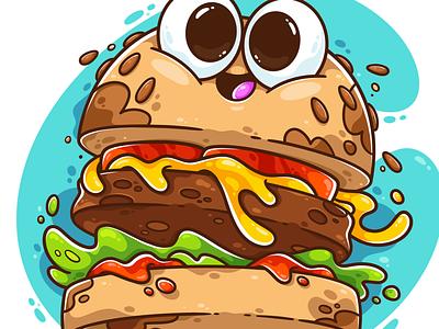 Burger Time icon logo weekly warm-up weeklywarmup fun cute art burger logo fast food food burger digital art character art drawing art vector character design illustrator cute illustration