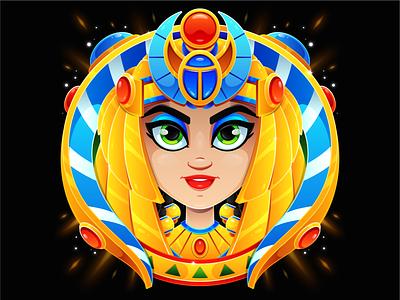 Egyptian Goddess badge design gold vector illustration vector art adobe illustrator achievement goddess ancient egypt cleopatra badge logo icon drawing art character design vector character design illustrator illustration