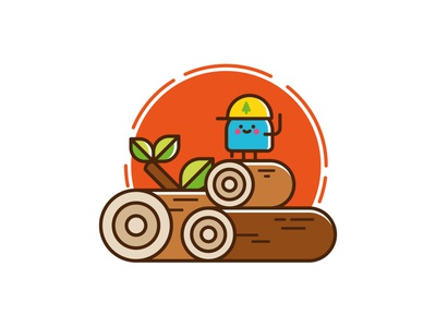 Raw Materials. character woodcut logs illustrator vector design logo character design illustration cute icon set icon