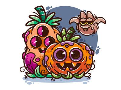Happy halloween! digital art drawing design art vector character bat pumpkins halloween illustrator cute illustration