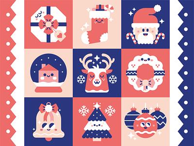 Christmas Icons. art logo character festive xmas christmas design icon set icon vector illustrator cute illustration