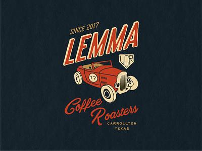 Lemma Coffee Roasters car illustration lettering vintage hand drawn