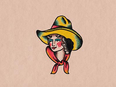 Cowgirl stipple cowgirl lady head flash tattoo illustration hand drawn