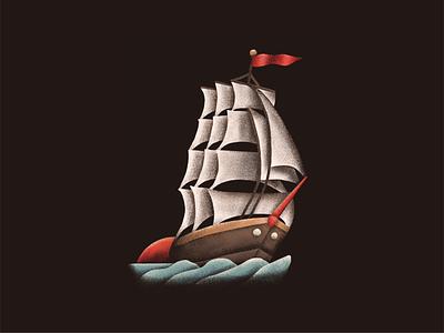 Clipper Ship clipper ship tattoo design procreate illustration hand drawn