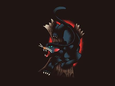 Polito Panther panther flash tattoo illustration hand drawn