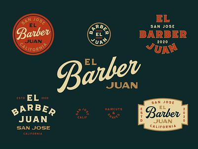 El Barber Juan barber logo design badge branding vintage lettering typography hand drawn