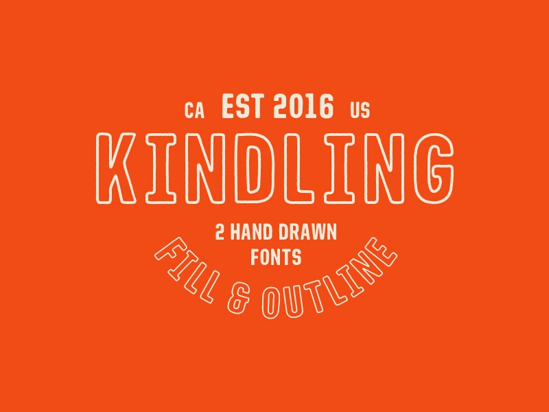 Kindling - Hand Drawn Font outline condensed sans serif typeface font type vintage lettering typography hand drawn