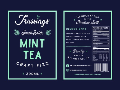 Trussings Mint Tea Label packaging soda label hand lettering hand drawn typography lettering logo design logo branding