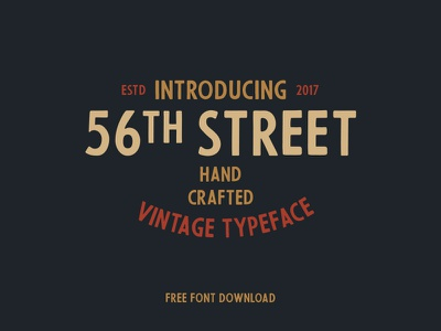 56th Street (free font) free typeface font retro branding badge vintage typography lettering hand drawn