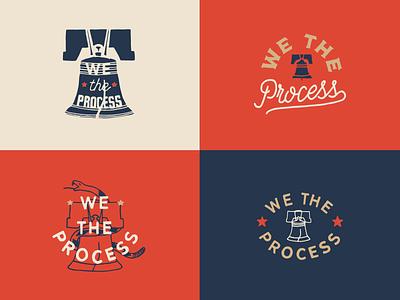 We The Process snake philly philadelphia bell liberty typography hand drawn logo branding