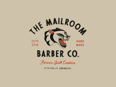 Mailroom Barber tattoo illustration panther lettering hand drawn