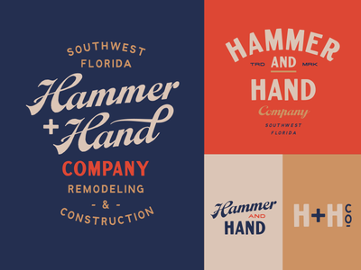 Hammer + Hand typography lettering hand drawn logo branding