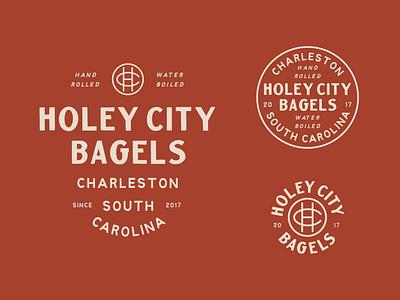 Holey City Bagels badge vintage logo branding lettering hand drawn