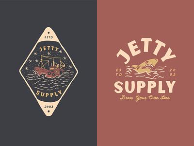 Jetty SS20 tattoo shark ship illustration lettering hand drawn tshirt design