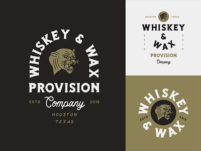 Whiskey & Wax Provision logo illustration panther badge branding typography hand drawn