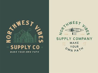 Northwest Vibes Supply Co pnw t shirt design canoe cabin illustration hand drawn