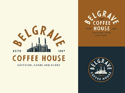 Belgrave Coffee House logo typography illustration badge vintage branding hand drawn