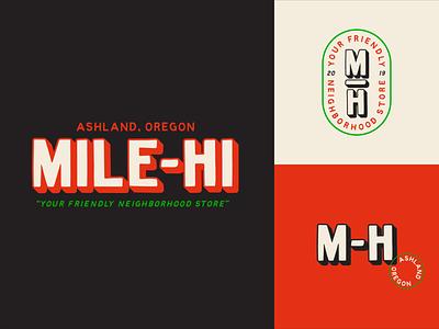 Mile-Hi lettering vintage typography logo branding