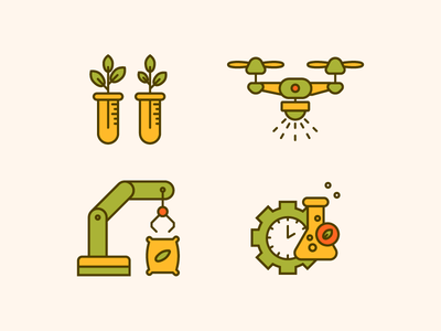 Smart farm set of icons