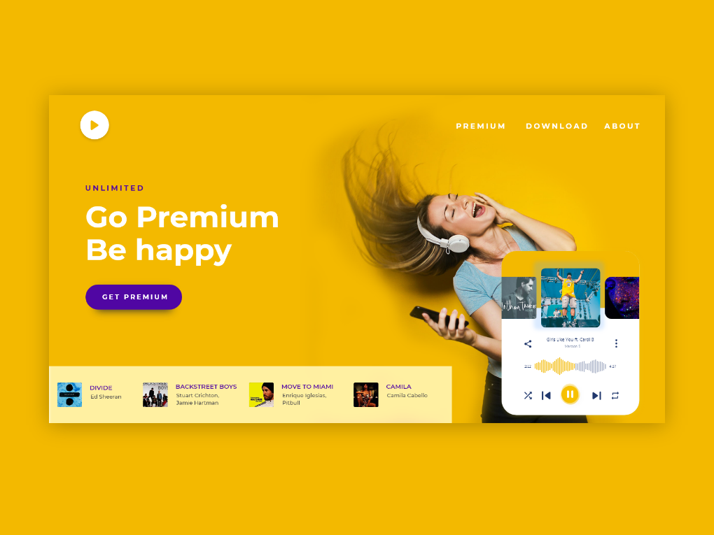 PlayMusic adobexd website concept website design web branding ux ui minimal design