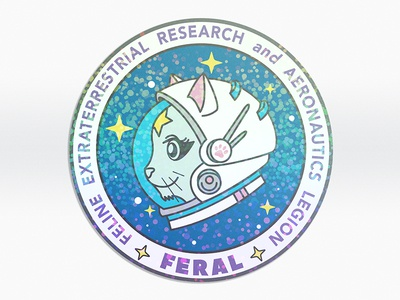 FERAL Cat Astronaut Holographic Sticker