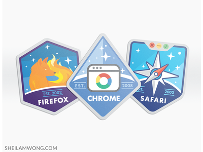 Web Browser Badges illustrator illustration stickers badge internet web browsers safari chrome firefox badges