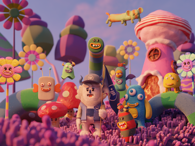Candy Monsters Valley debut 3d artist blender3dart blender 3d 3d blendercycles slypapnea fanart monsters monsters inc blender3d blender 3dcharacter 3dillustration 3d art 3d animation 3d modeling illustration design