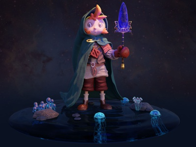 The Guardian wand character illustration character design illustration 3dcharacter 3d artist 3d art 3d animation 3d 3d modeling 3dillustration