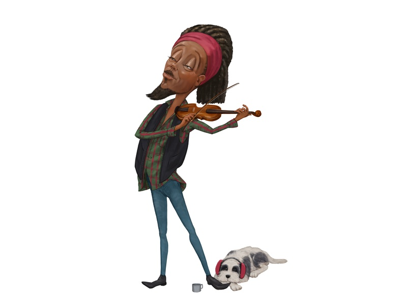 Busker and Doggie photoshop character design illustration