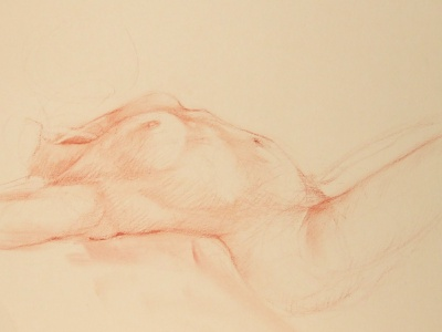 Nude Torso Reclining conte figure drawing life drawing