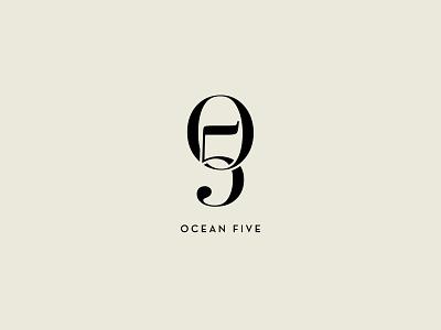 Oh Five monogram logotype numbering ocean badge serif typeface numbers letters handlettering vector lettering flat type branding icon typography design logo illustration