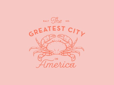 The Greatest City in America crab illustration typography logo branding badge lockup america