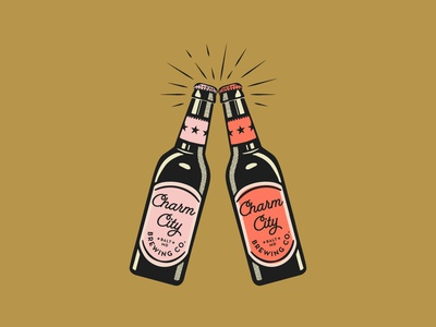 Cheers for Charm City vector texture retro retro font illustration beer