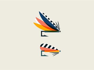 Flies brand identity fishing logo outdoors flat fly fishing fishing icon design vector branding logo illustration