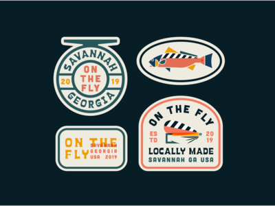 On The Fly Patch 2 simple nature logo illustration graphic design flat elegant color clean brand badges graphic fly fishing fish design vector branding badge logo badge design badge