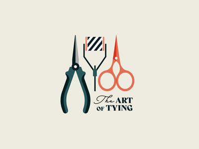 The Art of Tying font elegant creative clean brand design brand pliers scissors tools nature outdoors fishing art print branding logo design vector illustration flat
